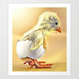 Hatched Chick Airbrush Artwork Art Print