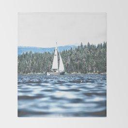 Calm Lake Sailboat Throw Blanket