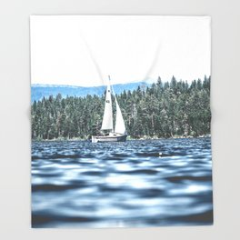 Calm Lake Sailboat Throw Blanket