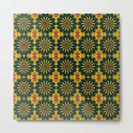 Green and Yellow Rich Colored Floral Tiled Pattern Metal Print