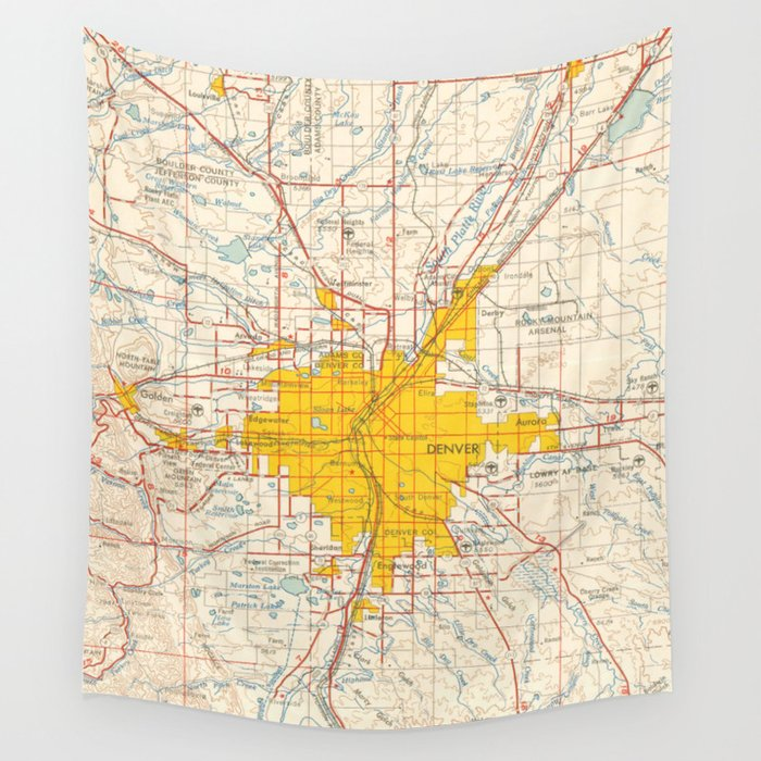 Denver Map Year 1958 Old Map Us Maps Usa Maps Vintage Maps Wall