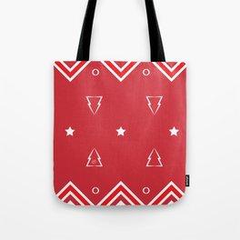 Christmas Tree Pattern #xms #holidays #festive #decor #red #white #kirovair Tote Bag