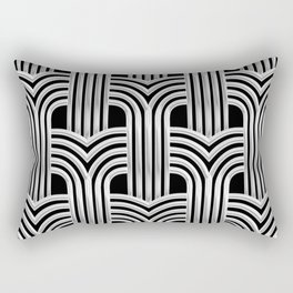 3-D Art Deco Silver Architectural Chic Design Rectangular Pillow