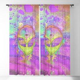Alien Melt - yellow Sheer Curtain