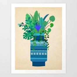 Big Bitossi vase with greenery Art Print