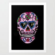 Sugar Skull, Hearts Art Print