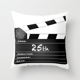 25th Year Clapperboard Throw Pillow