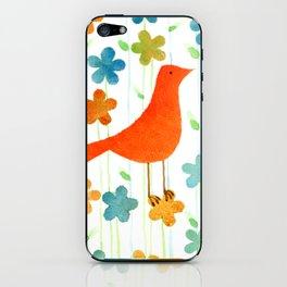 Bird orange dancing on the flowers iPhone Skin