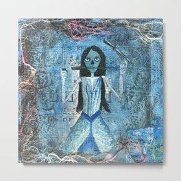 Skull Girl with Knives Metal Print