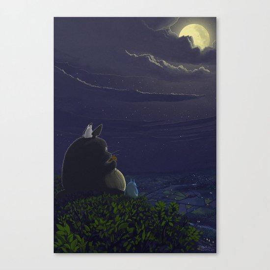 Totoro playing the ocarina Canvas Print