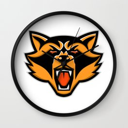 Angry Raccoon Head Mascot Wall Clock