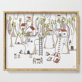 Forest animals waiting for the holidays Serving Tray