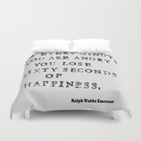 waldo Duvet Covers featuring Happiness Ralph Waldo Emerson Quote by All Surfaces Design