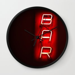 Retro BAR sign with neon light on dark background Wall Clock