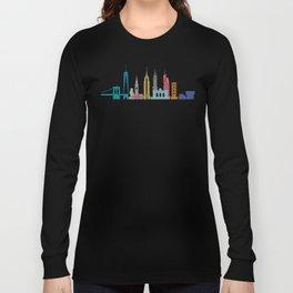 New York Skyline Black Long Sleeve T-shirt