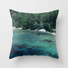 Tahiti White Sand Beach Romantic Getaway Throw Pillow