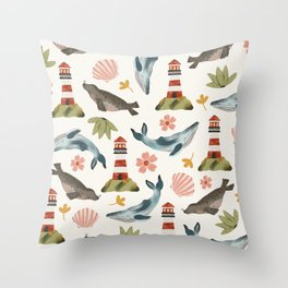 Lighthouses, Seals, and Whales Throw Pillow