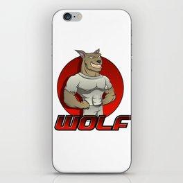 Cartoon werewolf on the red background iPhone Skin