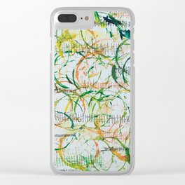 Sticks and Stones in Oranges and Greens Clear iPhone Case
