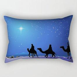 Holiday Christmas The Three Wise Men Night Blue Ca Rectangular Pillow