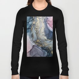Blush, Payne's Gray and Gold Metallic Abstract Long Sleeve T-shirt