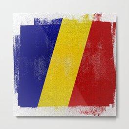 Romanian Distressed Halftone Denim Flag Metal Print