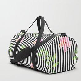 Geometrical black white stripes pink floral Duffle Bag