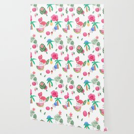 Colorful tropical summer flowers & pink flamingos Wallpaper