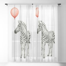 Baby Zebra with Red Balloon Sheer Curtain