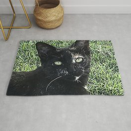 Island Cat Relaxing in Tropical Grass Rug