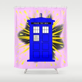 British Police Box With Abstract Explosion Shower Curtain