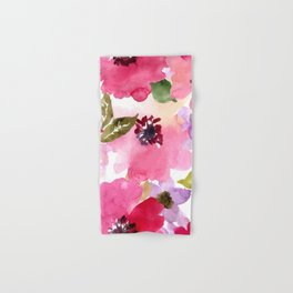 Watercolor Flowers Pink Fuchsia Hand & Bath Towel