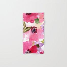 Watercolor Flowers Pink Fuchsia Hand & Bath Towel