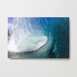 Blue Ocean Wave Barrel Metal Print