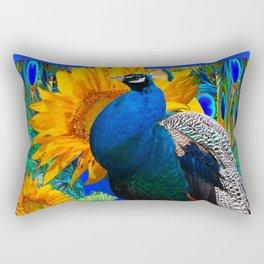 #2 BLUE PEACOCK &  SUNFLOWERS BLUE MODERN ART Rectangular Pillow