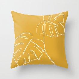 Monstera minimal - yellow Throw Pillow