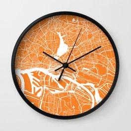 Hamburg map orange Wall Clock