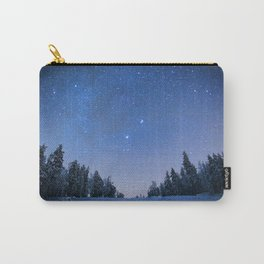 Blue Night Stars Wintry Forest Carry-All Pouch