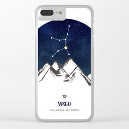 Astrology Virgo Zodiac Horoscope Constellation Star Sign Watercolor Poster Wall Art Clear iPhone Case