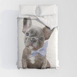 French bulldog, Frenchie, Blue Grey by Amanda Greenwood Comforters