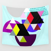 decal Wall Tapestries featuring geometric pattern by haroulita