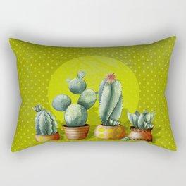 """""""Green Lemon Cactus Polka Dots"""" Rectangular Pillow"""