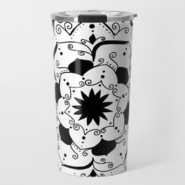 Namsate black mandala on white Travel Mug