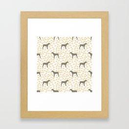 Big Grey Weimaraner Dog and Yellow Paw Prints Framed Art Print