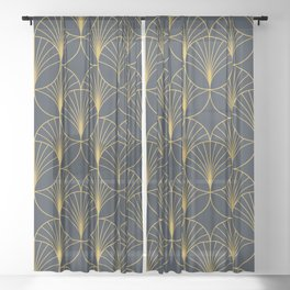 Art Deco Style Seamless Pattern with Golden Fan Shapes Sheer Curtain