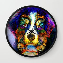 Multicolor Dog 157 Bernese Mountain Wall Clock