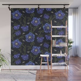 Midnight Hellebore Wall Mural