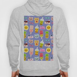 Hello Summer Pineapple, cherry smoothie cup, ice cream, sun, cat, cake, hamster. Kawaii cute face. Hoody