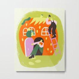 Strawberry House Metal Print