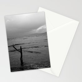 Black and white minimal lakescape Stationery Cards